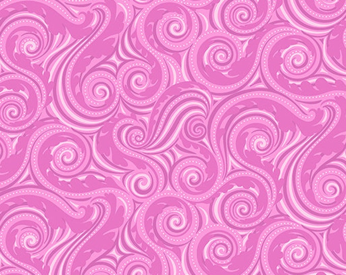 Benartex - Contempo - Crescendo - by Amanda Murphy - Wave - Fuchsia -  10256-26 - Flowers and Shells  - Sold by the Yard