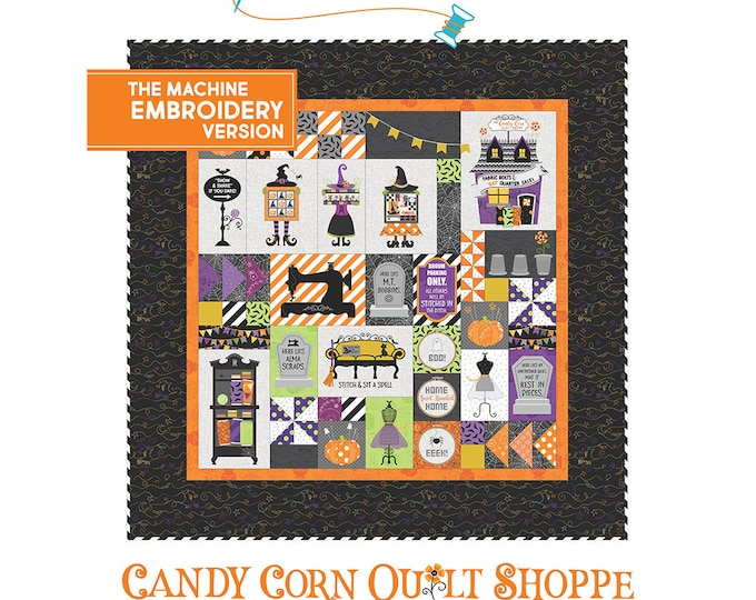 Kimberbell - Candy Corn Quilt Shoppe -Complete -Kit- Embroidery CD, Embellishment Kit and Fabric Kit for Quilt-Sold by the Kit-FREE SHIPPING