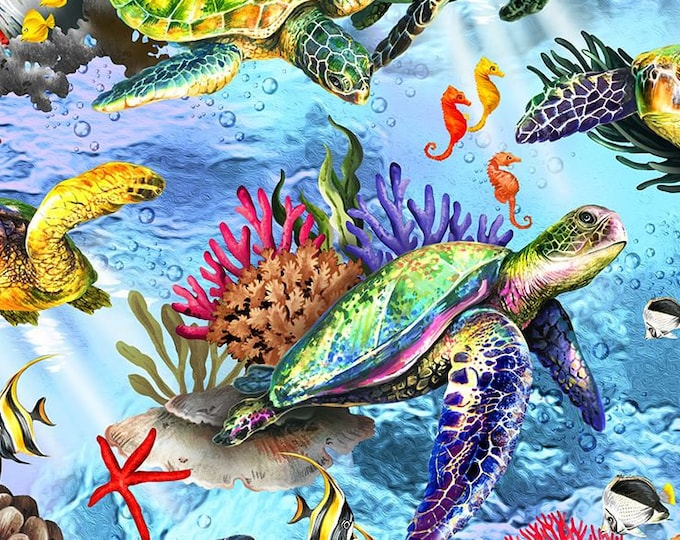 """Oasis Fabrics - The Reef - Coral Reef - Sea Turtle - Lt Blue - Under the Sea  -  36"""" x 44"""" -  593822 - Sold by Yard"""