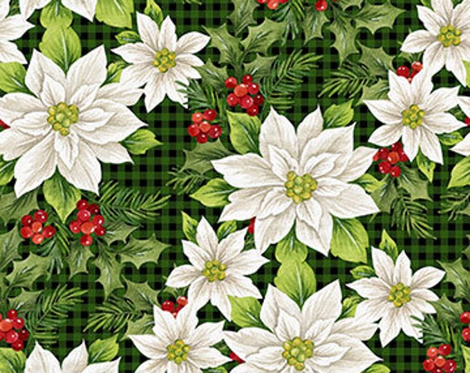 "Northcot  - Farmhouse Christmas - Xmas - Poinsettia Toss  - Santa  - Christmas - Poinsettia Fabric - 23494-99 -  36""x 44"" - Sold by the Yard"