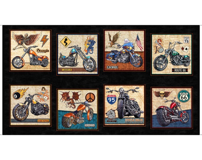 Quilting Treasures - Easy Rider - Panel - Motorcycle - Tattoo - Flames -  27480J - Sold by the Panel