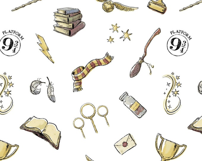 Camelot - Harry Potter - Soft Wash Magic - White - 23800603 - Broom - Quidditch - Quiditch Cup - Everything Magic- Sold by the Yard