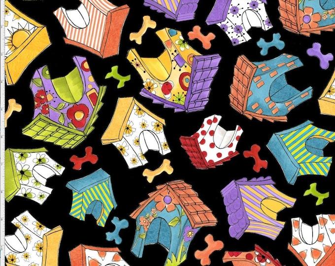 Loralie Design - Joyful Toss Dog House - Tossed Dogs House - Black - Dog House - Dog - 692-292 -  Sold by Yard