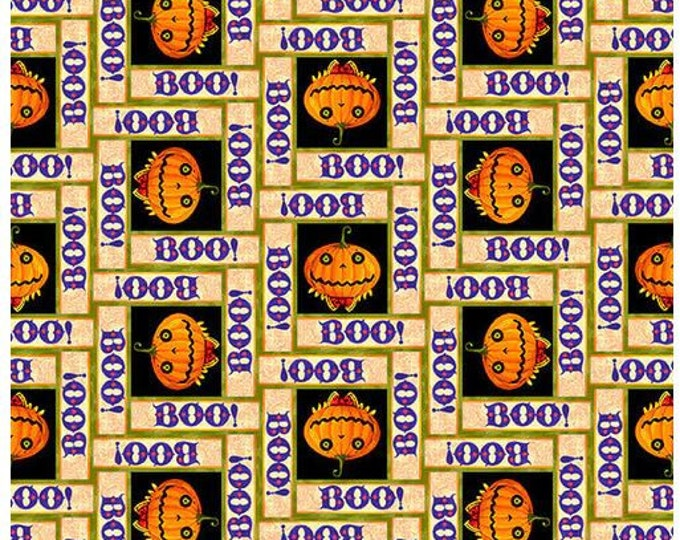 """Blank Quilting - Witchful Thinking  - Pumpkins with Boo -  1540-33 - 36""""x44"""" - Orange- Halloween - Sold by the Yard"""