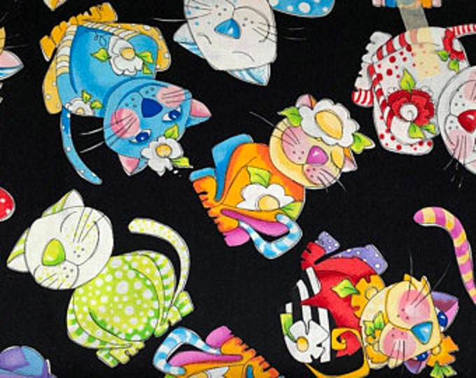 Loralie Design - Calico Cats - Tossed Calico Cats  - Black - Cats - 692-197 -  Sold by Yard