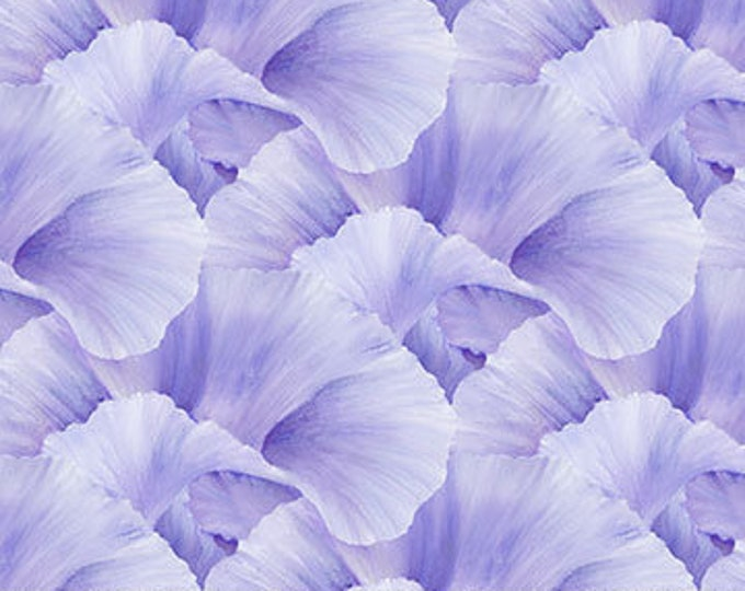 """Northcott - Lush - Supersize Iris - Peddles  - Violet  - DP24192-83 - 36""""x43"""" - Sold by the Yard"""