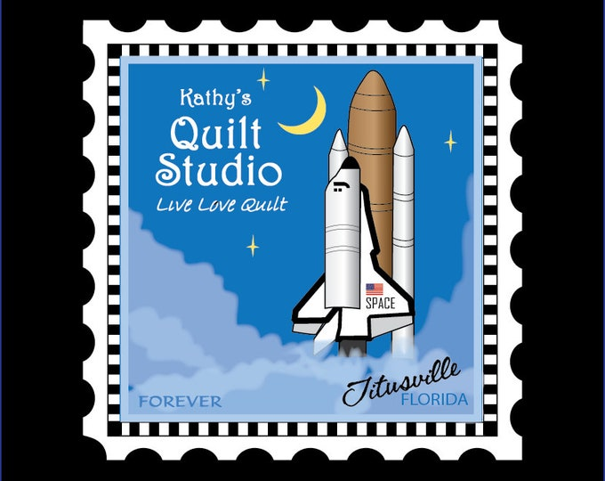 """Quilters Trek - Row by Row - Charm Stamp - Shuttle - Shuttle Charm Stamp - 5.5""""x5.5"""" Charm -  Row x Row"""