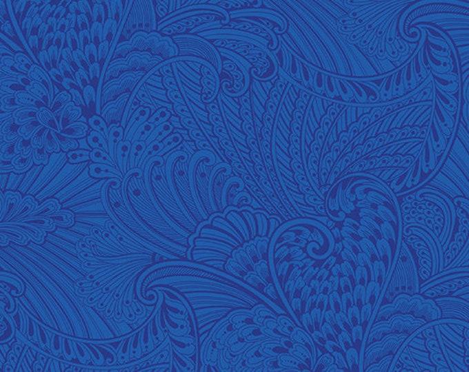 Benartex - Peacock Flourish - Opulence Tonal -  White/Dark Blue -  10231M55 - Sold by the Yard
