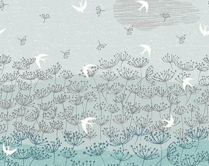 Dashwood Studios - Elements - Ombre - Floral - Clouds - Birds - Light Teal - ELEM1765 -  Sold by the Yard