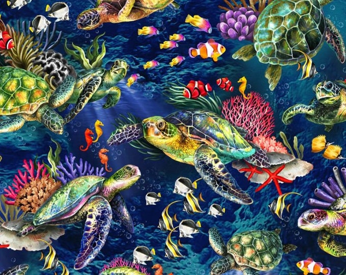 """Oasis Fabrics - The Reef - Coral Reef - Sea Turtle - Blue - Under the Sea  -  36"""" x 44"""" -  593821 - Sold by Yard"""