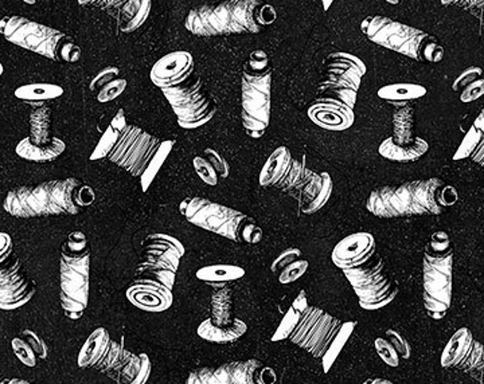 Northcott - Sewing is My Happy Place - Serenity - Spools  - Black - 24220-99  - Sold by the Yard