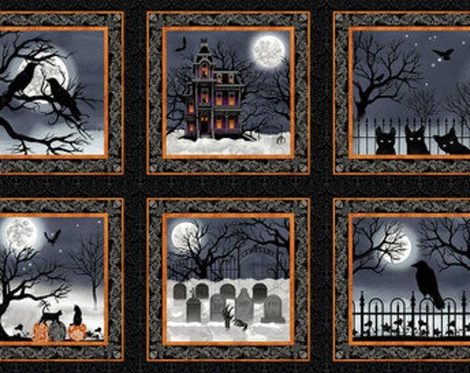 Studio E - Spooky Night - Spooky Night Panel/Blocks  - 5728-93  - Black/Orange - Halloween  - Sold by the Panel