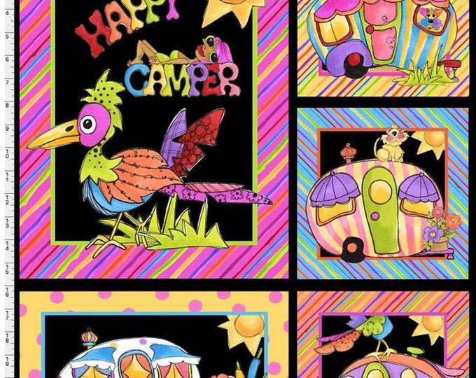 Loralie Design - Happy Camper - Black Panel - 692-272- Panel - Sold by Panel