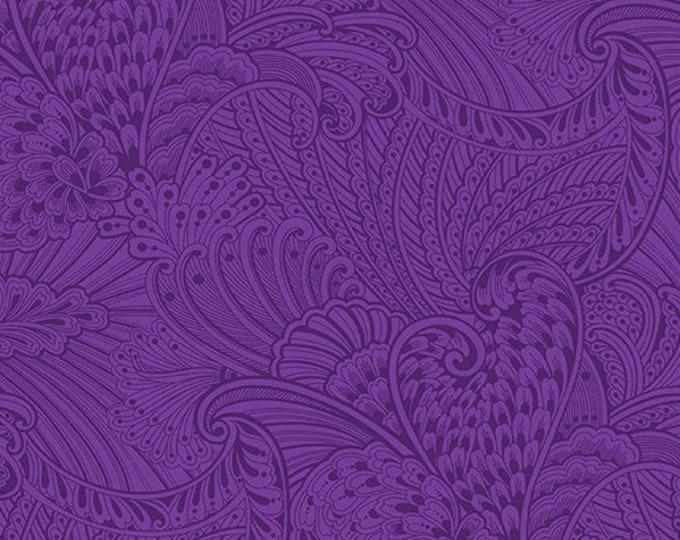 Benartex - Peacock Flourish - Opulence Tonal -  White/Dark Purple -  10231M66 - Sold by the Yard