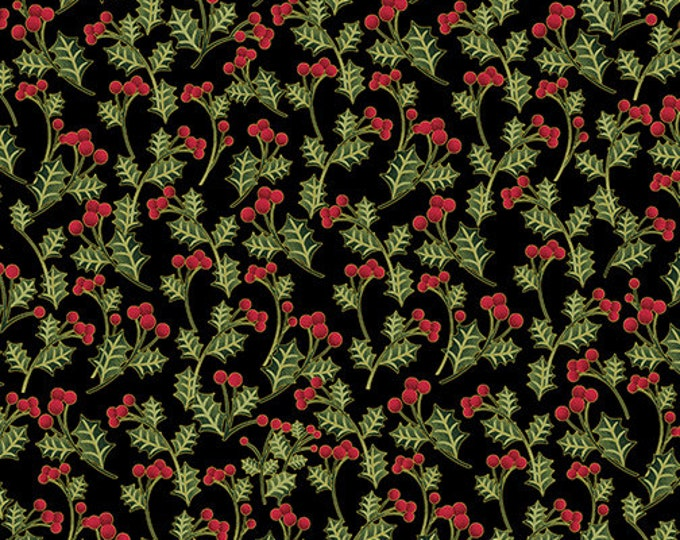 Kanvas for Benartex - Charm Holiday - holiday berry - Black -  Gold Metallic  - 9602M12B - Sold by the Yard
