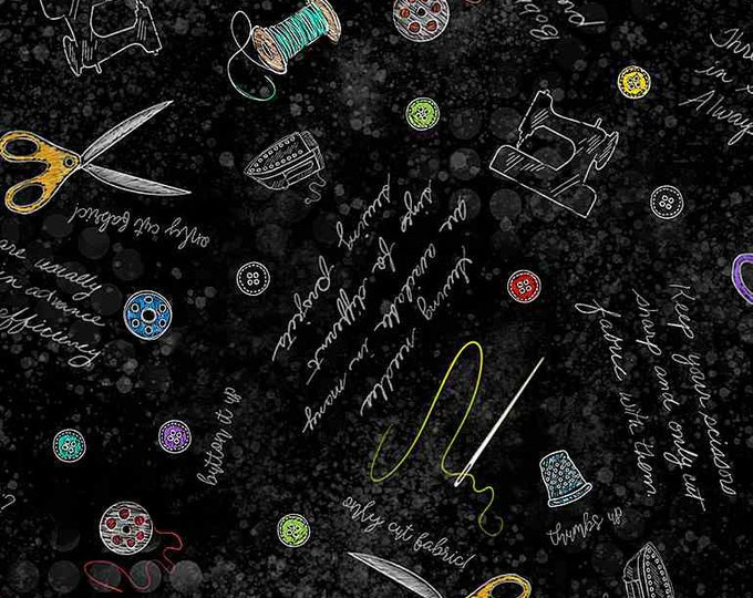 2021 Quilters Trek - Pop of Color - QTI-CD8829 - Black - Notes and Tools - Timeless Treasures - Sold by the Yard