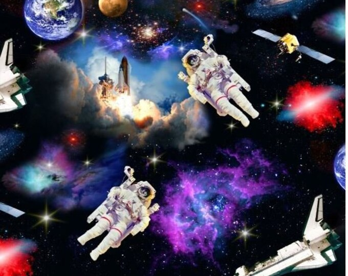 Elizabeth Studio Fabric - In Space -  1298 - Shuttle - Astronaut - Launch - Space fabric - Planets -  Sold by the Yard