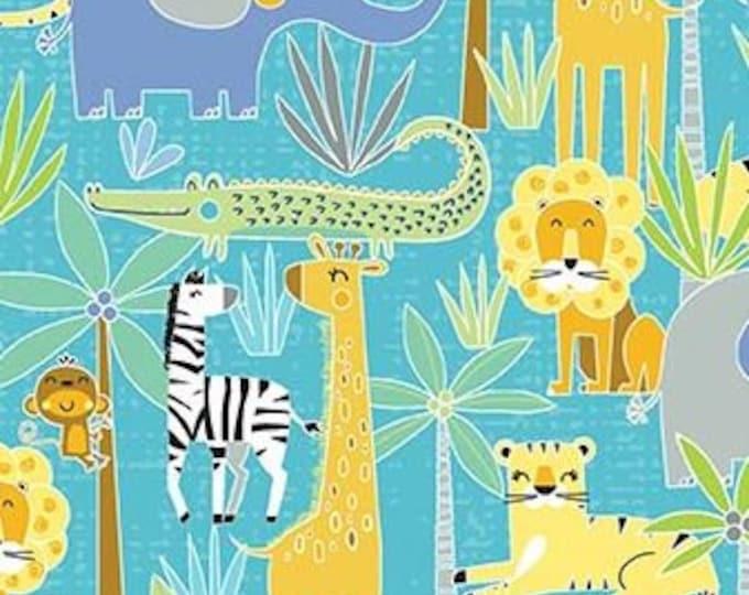 Kanvas for Benartex - Sweet Safari - Jungle Safari - Safari -  Turquoise - 9896-84 -  Animal fabric - Baby Fabric - Sold by the Yard