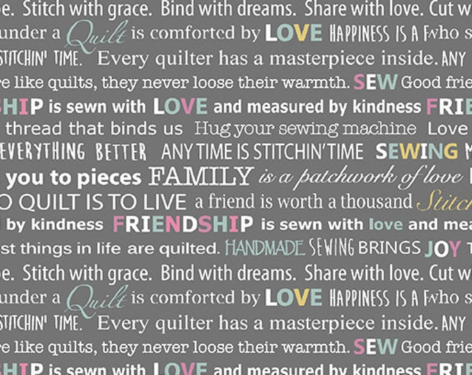 Benartex - Words to Quilt By - Light Gray Words - Text - Words - Quilters Patch - 0697511B -  Sold by the Yard