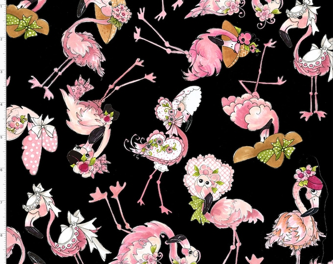 Loralie Design - Flamingo Fancy - Black -Flamingo Tossed  692-329 - Sold by the Yard