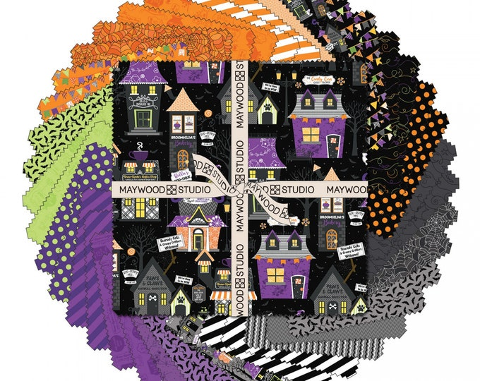"""Kimberbell - Hometown Halloween - Layercake - Fall - Fat Quarter - 10""""x10""""- 42 Squares - Sold by the Layercake"""