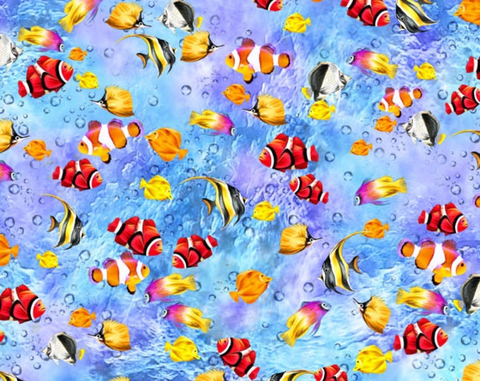 """Oasis Fabrics - The Reef - Coral Reef - Fish School - Lt Blue - Under the Sea  -  36"""" x 44"""" -  593832 - Sold by Yard"""