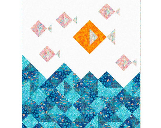 """Quilting Treasures - Ocean Paradise - Quilt Pattern - Fish - Pattern only - Quilt 59.5""""x 76.25"""" - Actual Paper Pattern"""