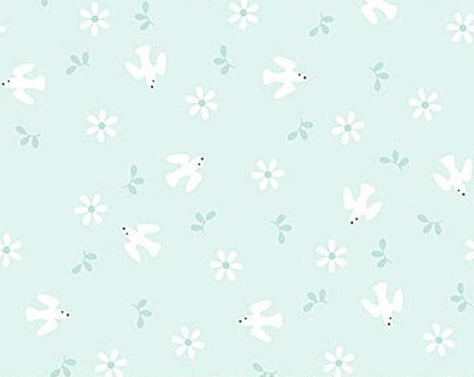 New - Northcott - Hello Little One - Mint/ Blue Birds - Animal Baby Print - Baby Pastel - Baby - Pastel - 22696-61 -  Sold by yard