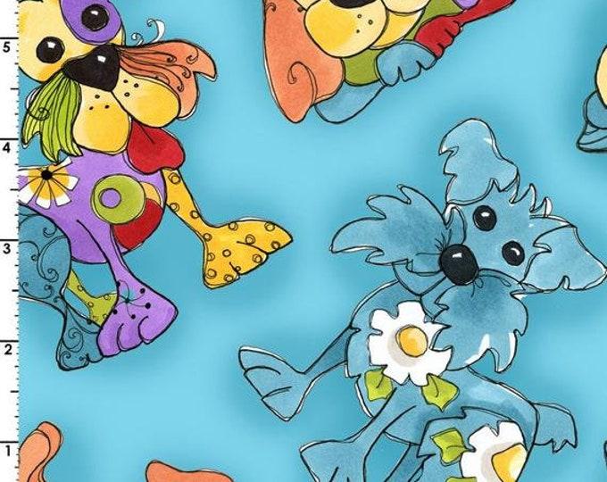 Loralie Design - Joyful Toss Dog - Tossed Dogs  - Teal - Dog - 692-287 -  Sold by Yard