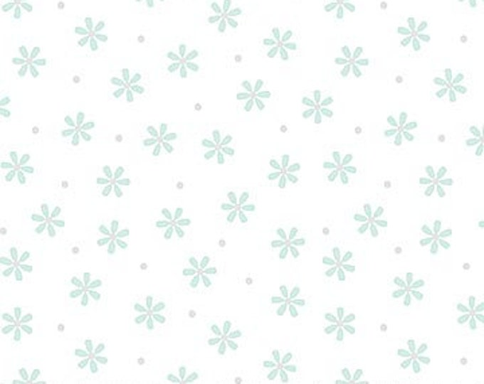 New - Northcott - Hello Little One - Mint/Blue Flowers - White - Animal Baby Print - Baby Pastel - Baby - Pastel - 22698-61 -  Sold by yard