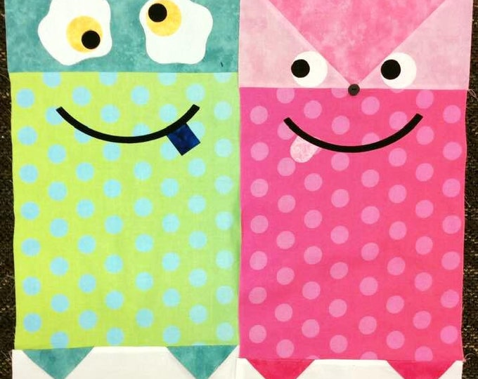 2019 Row by Row Juniors Yum Monster Kit - Taste the Experience -  Monster Kits - Puprle/Pink OR Grean/Blue - Applique and Fused - Pre-Order