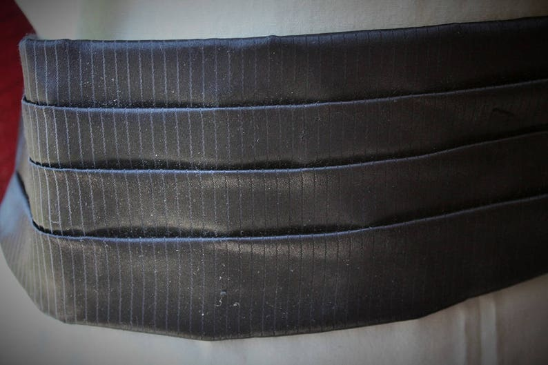 Made in England 1960s FormalWedding Black Shot Satin Acetate Cummerbund and Bowtie Set Bow Tie Set