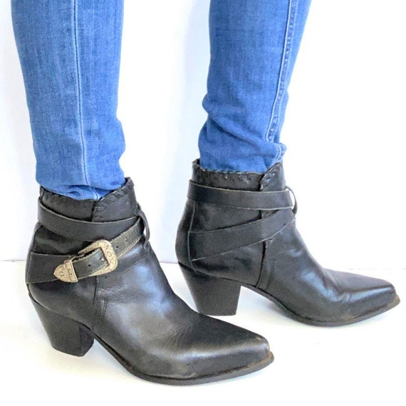 80/'s Vintage Denim Blue Suede Leather Ankle Boots size 8