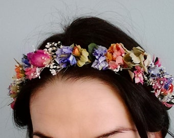 Colourful dried flower crown.