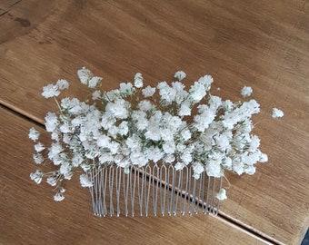 Dried gypsophila hair comb