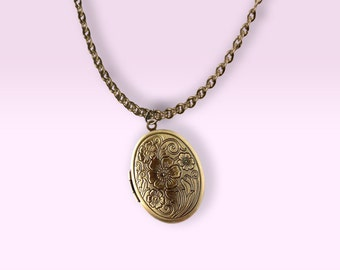 Vintage Brass Solid Perfume Locket