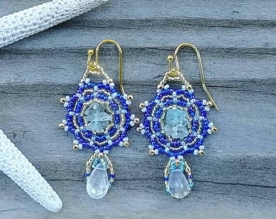 Lacey Blue Beaded Earrings