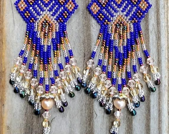 Royal Blue Beaded Earrings