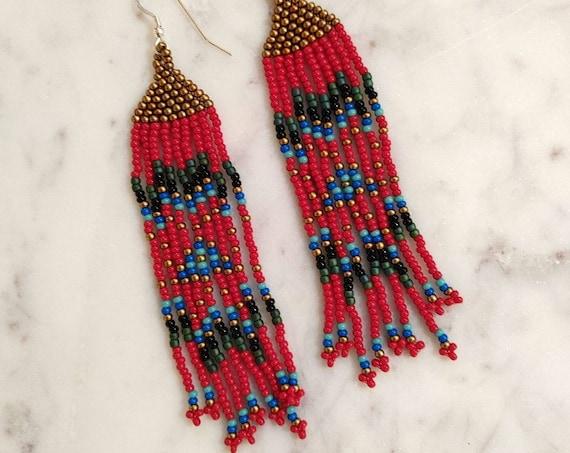 Beaded Earrings in Red