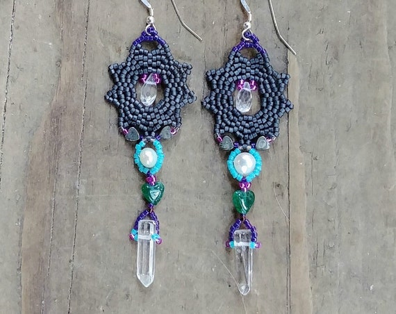 Beaded Earrings in Pewter Gray with Gems