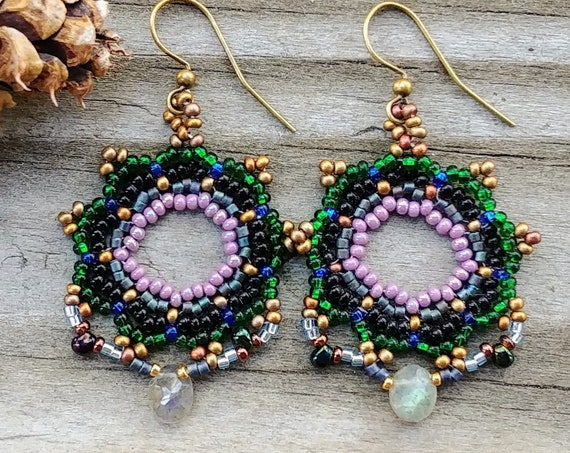 Beaded Bronze and Labradorite Earrings