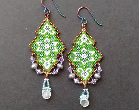 Beaded Earrings, Forest