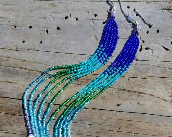 Beaded Earrings in blues and pearls