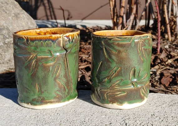 Pottery Cups with Bamboo Texture