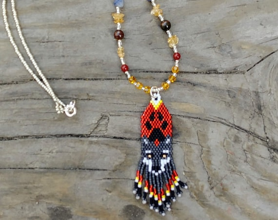 Beaded Wolf Necklace