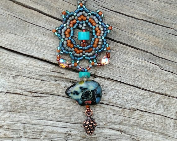 Beaded Pendant with Bear