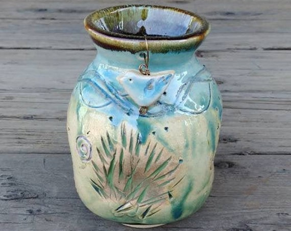 Pottery Vase with Bluebird