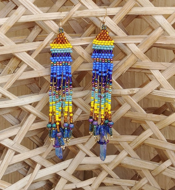 Beaded Earrings with Color Burst