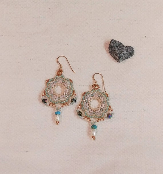 Beaded Earrings with Pearls