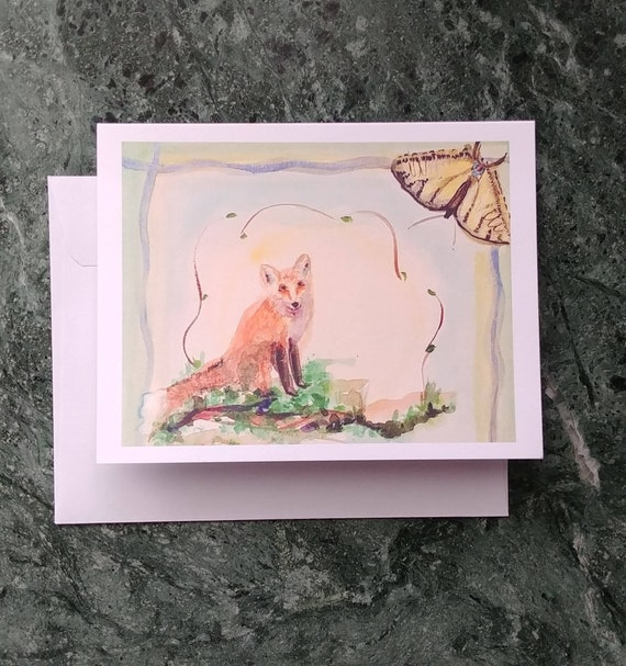 Note Cards, Fox and Butterfly